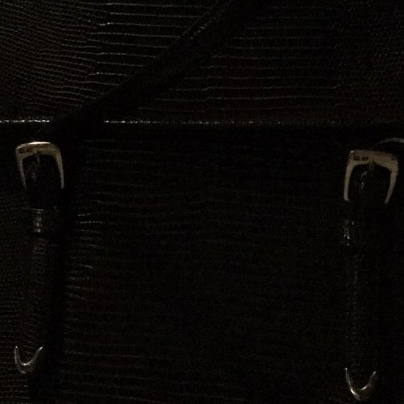 1f3a95343e7b Ralph Lauren Leather embossed dark brown bag clean